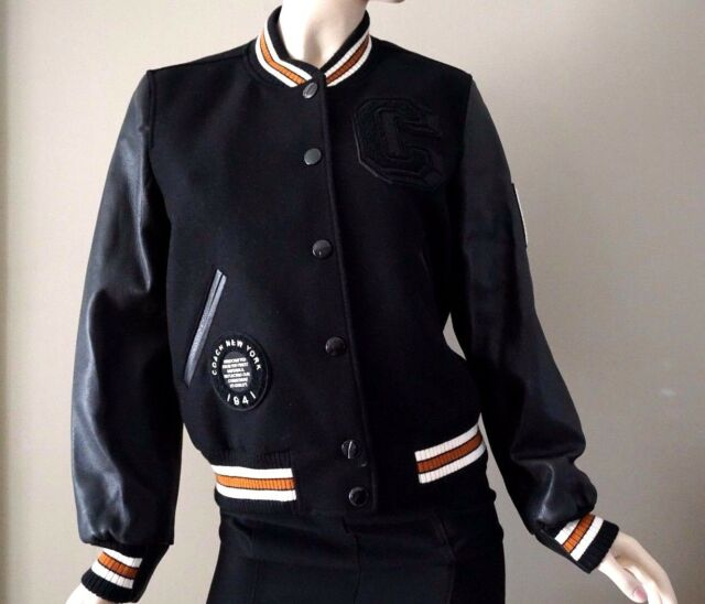 78ed436b5a Frequently bought together. Coach Women s Black Varsity Wool Blend Jacket  ...