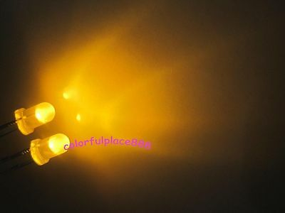 100 x 3mm Yellow Diffused Round Self Flash Flashing LED Blink Bright Leds Light