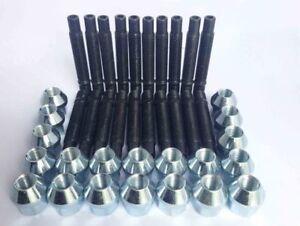 20x M12x1.5 Nero Ruota Borchie /& Dado Kit di conversione lunghezza 75mm con dadi di bloccaggio