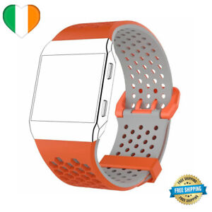 For Fitbit Ionic Strap Replacement Wrist Band Watch LARGE / SMALL Orange & Grey