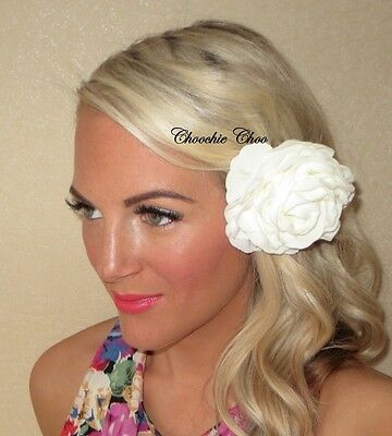 Ivory Cream Rose Flower Corsage Hair Clip Slide Bride Bridal Maids Choochie Choo