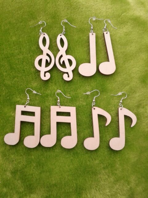 Wooden earrings kit natural plain wood for crafts decoupage musical notes, clef