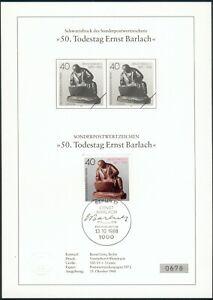 Berlin-Schwarzdruck-50-Todestag-034-Ernst-Barlach-034-1988-Einzelwert-auf-Gedenkblatt