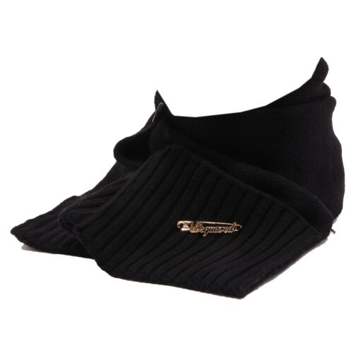 0710R collo sciarpa girl DSQUARED D2 black wool scarf bimba