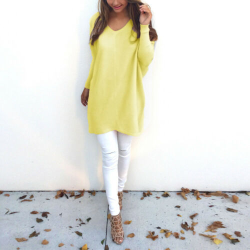 Women/'s Long Sleeve Loose Knitted Pullover Sweater Casual V Neck Jumper Knitwear