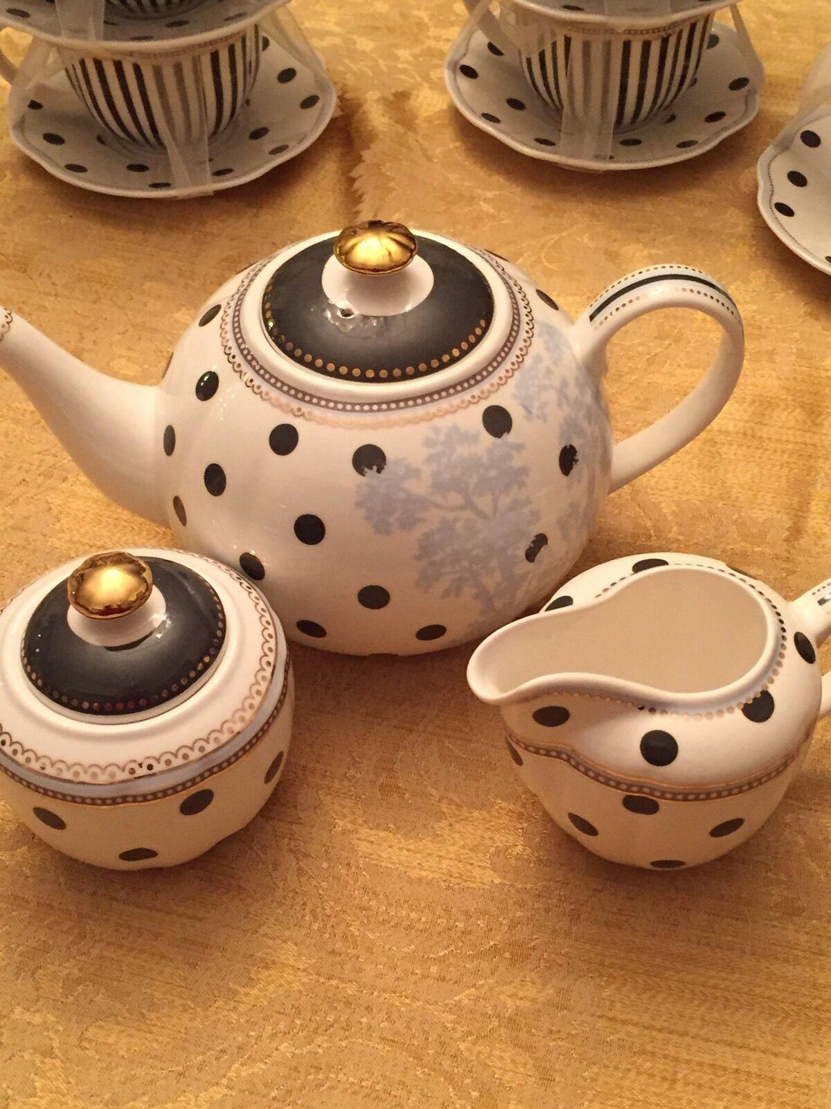 3pc Grace TeaWare Théière, Pot à lait & couvert sucrier tous avec noir et lien