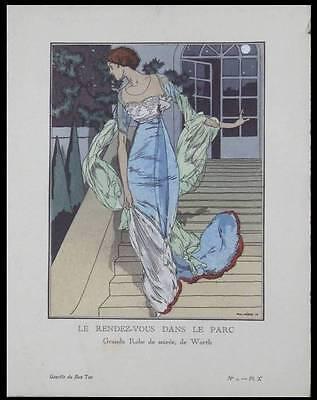 PAUL MERAS 1918 POCHOIR PRINT - ART DECO, GAZETTE DU BON TON, DRESS WORTH