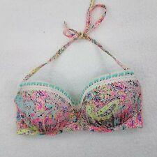 Shade /& Shore White Crochet High Neck Strappy Bikini Top Swimwear D//DD #1494