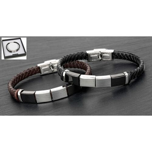EQUILIBRIUM MEN BLACK //BROWN LEATHER /& STAINLESS STEEL BRACELET BOXED