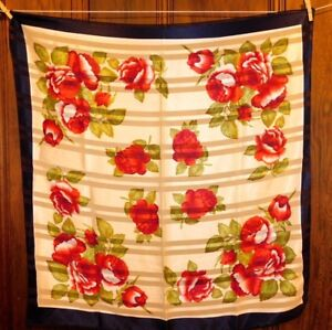 Vintage-Silk-Large-Beige-Blue-Flame-Green-Red-Flowers-Roses-Scarf-39-034-x38-034