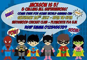 Children Personalised Superheroes Birthday Party invitations x 10 - Bexleyheath, Kent, United Kingdom - Children Personalised Superheroes Birthday Party invitations x 10 - Bexleyheath, Kent, United Kingdom