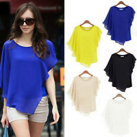 Sexy Womens Casual T-Shirt Short Sleeve Chiffon Tops Crew-Neck Loose Blouse New