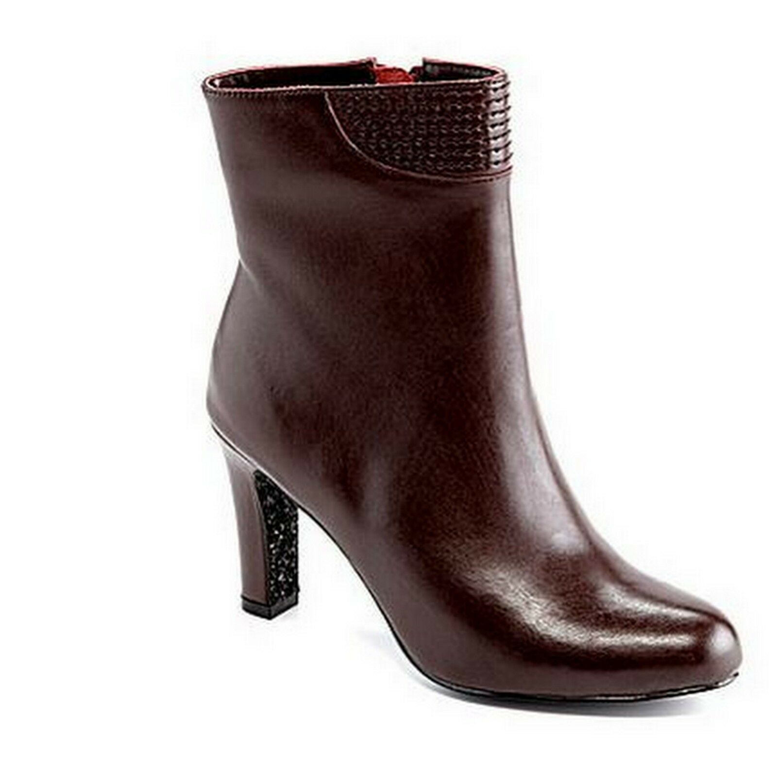 Adrianna Papell Basha Burgundy Leather Fashion Ankle Booties Boots 7
