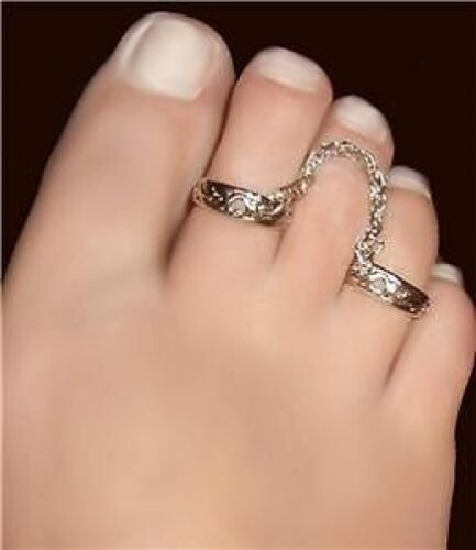 Rope Sterling Silver Double Fetish Connected Toe rings
