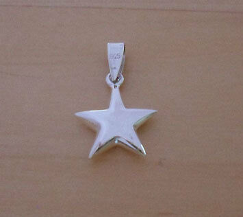 925 Sterling Silver Polished  Star Charm / Pendant, 13mm Diameter & 3mm Puff