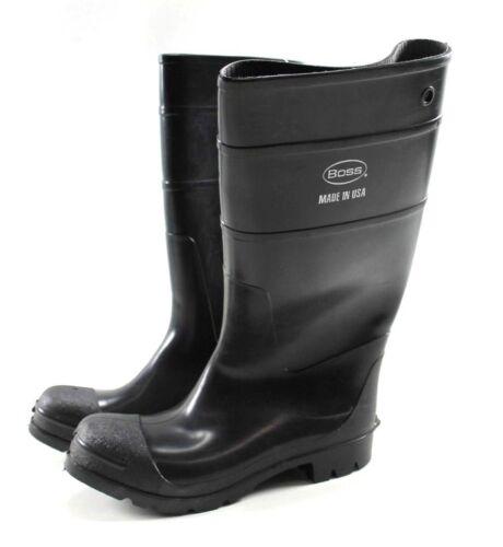 """Size 11 Plain Toe Knee High Black Boss 16/"""" Size 11 Economy PVC Boot"""