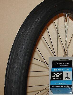 "Bicycle Tire 26x2.35/"" Deli Fat Slick Beach Cruiser Vintage White Wall Tube"
