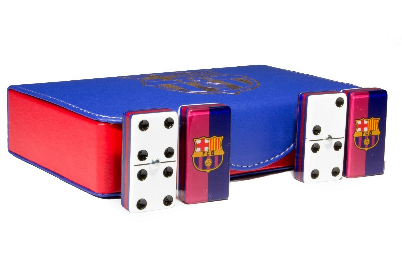 Barcelone Jumbo Dominos Double Six, 5 couches 100% acrylique. En cuir synthétique Case