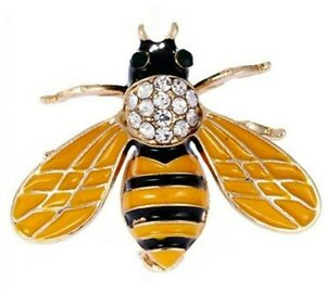 BROOCH-Bumble-Bee-Gold-amp-Black-Enamel-Rhinestone-Brooch-MOTHERS-DAY-GIFT