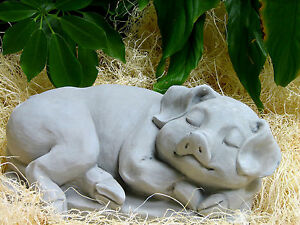 Image Is Loading Cast Stone Cement Sleeping Pig Outdoor Garden Statue
