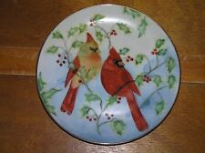 Handpainted by C. Johnson Male & Female Cardinal Perched in Holly Berry Branches