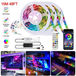 32ft-49ft-5050-RGB-300-LED-Strip-Light-Music-Sound-Activated-Remote-12V-Power
