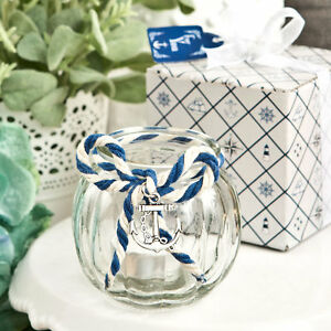 Image Is Loading 24 Anchor Nautical Themed Gl Candle Holder Wedding