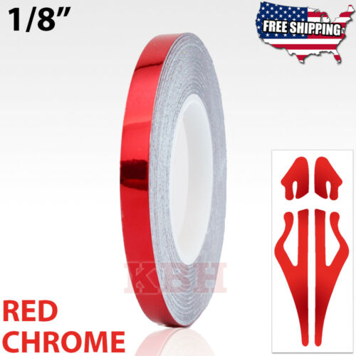 """1//8/"""" Roll Vinyl Pinstriping Pin Stripe Line Tape Decal Sticker 3mm RED CHROME"""