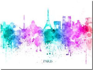 "Paris City Skyline France watercolor Abstract Canvas Art Print 8""X10"""