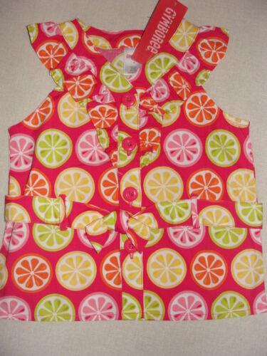 Gymboree CITRUS COOLER Pink Fruit Orange Lemon Slice Ruffle Belt Tank Top 3 6 12