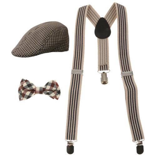 Boy Suspender Beret Cap Flat Hat Set Accessories Decor Festival Supply