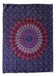 Indian-Tapestry-Wall-Hanging-Peacock-Mandala-Large-Hippie-Bohemian-Decor-Throw
