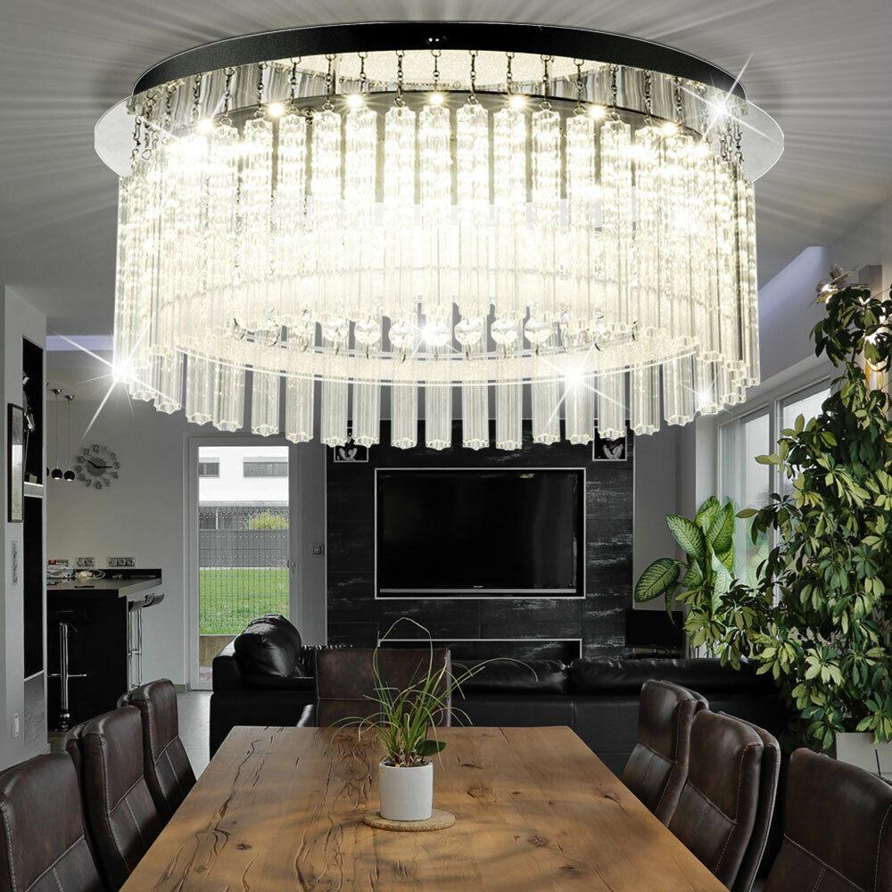 5X E27 LED Kristall Deckenlampe Wohnzimmer Kronleuchter Warmweiß RGB Beleuchtung
