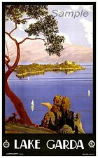 VINTAGE 1920's Lago Garda Italia Viaggi A4 poster stampa