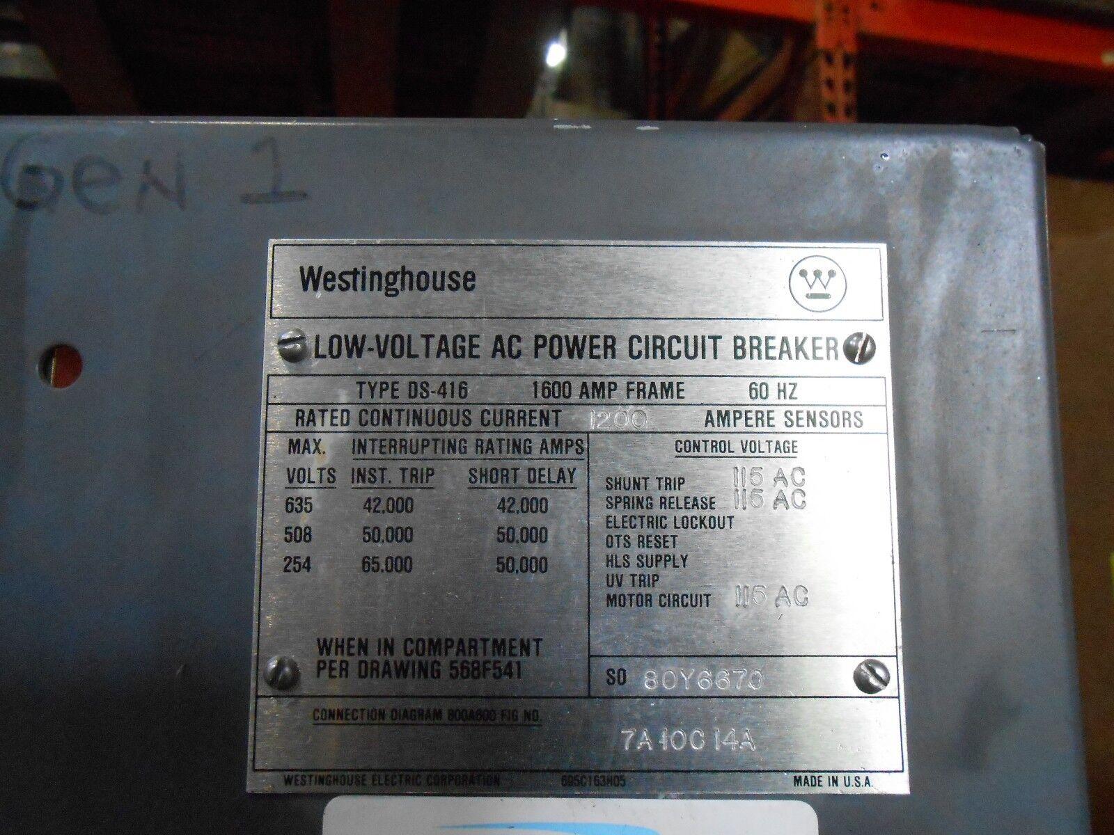 Westinghouse Ds 416 1600a Frame Sensor Lig Breaker Amptector I A Cutler Hammer Bab Shunt Trip Wiring Diagram Norton Secured Powered By Verisign