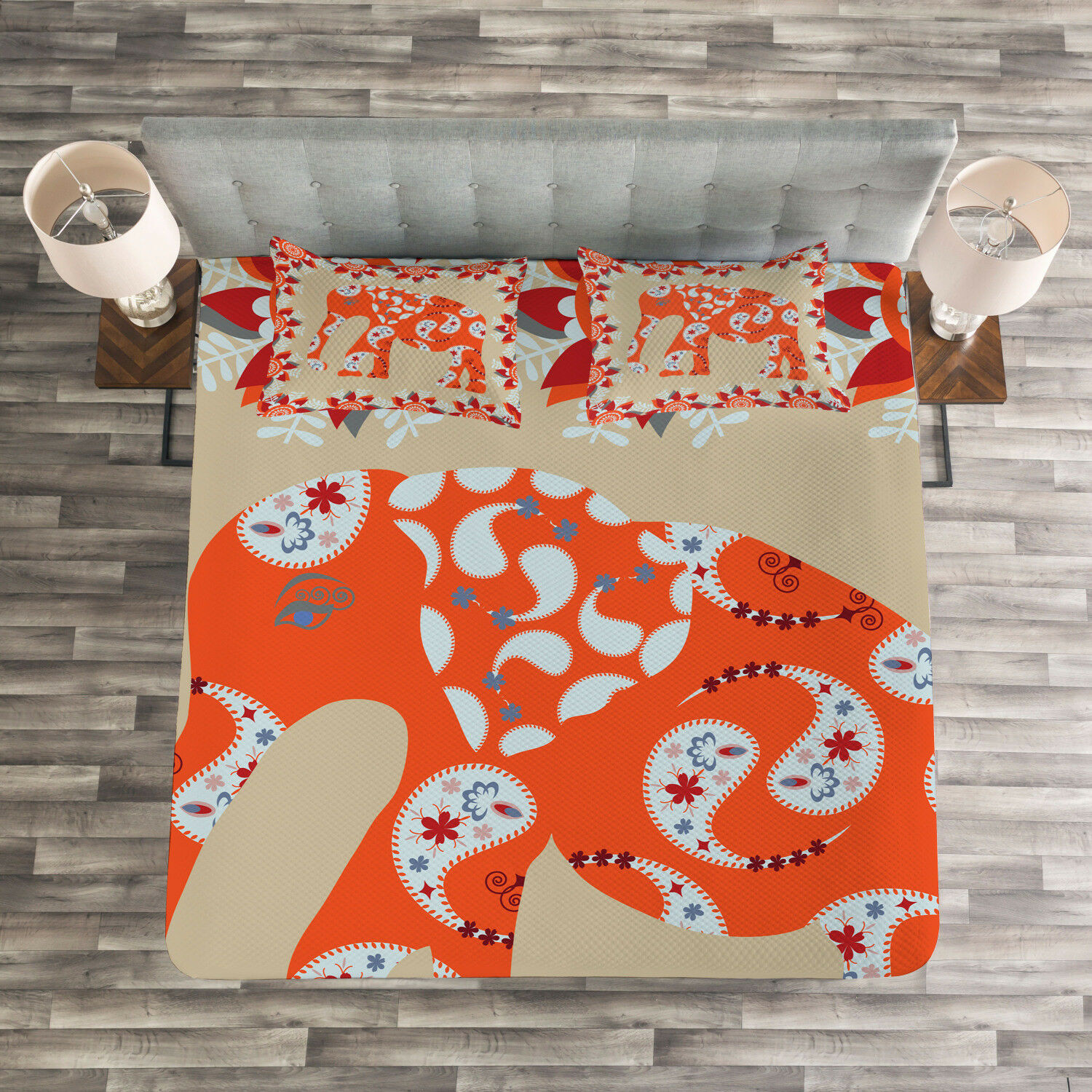 Ethnic Quilted Bedspread & Pillow Shams Set, Elephant Asian Style Print