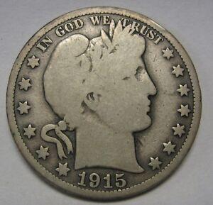 Key-Date-1915-Silver-Barber-Half-Dollar-Grading-VG-g9664