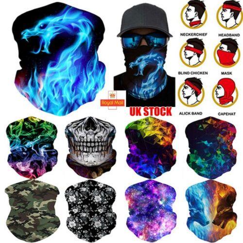 Face Cover Balaclava Snood Neck Warmer Tube Seamless Biker Headscarf Women//Men