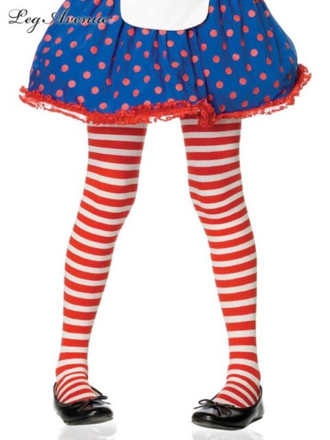 Girls Leg Avenue 4710 Red & White Xmas Stripe Striped costume tights stockings