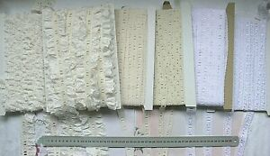 Cambric-Cotton-Lawn-Lace-RIBBON-Thread-5-7mmHole-Mixed-Lengths-5Style-Choice-Lwn