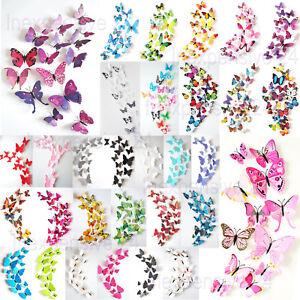 3D-Schmetterlinge-12er-Dekoration-Wandtattoo-Wandsticker-Wanddeko-grosse-Auswahl