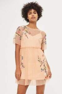 BNWT-Topshop-Peach-Embroidered-Mesh-Smock-Dress-10