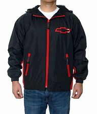 "Chevrolet Hooded Rain Jacket Chevy WindBreaker Zip Black Red  ""BLOWOUT"""