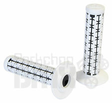 AME old school BMX Dual Duals bicycle grips - WHITE over BLACK *MADE IN USA* NEW