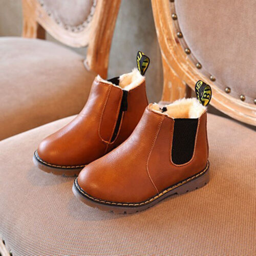 Kids Boys Girls Winter Warm Leather Fur Lined Shoes Ankle Boots Chelsea Shoes