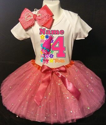 Trolls Party 4th Birthday Fuchsia Tutu Outfit Personalized Name option Poppy