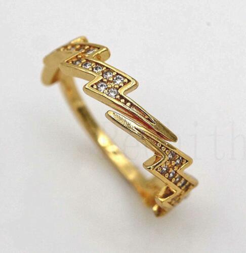 18K Gold filled-Réglable Ouverture Anneau zircle Lightning Femmes balle taille 7 L8