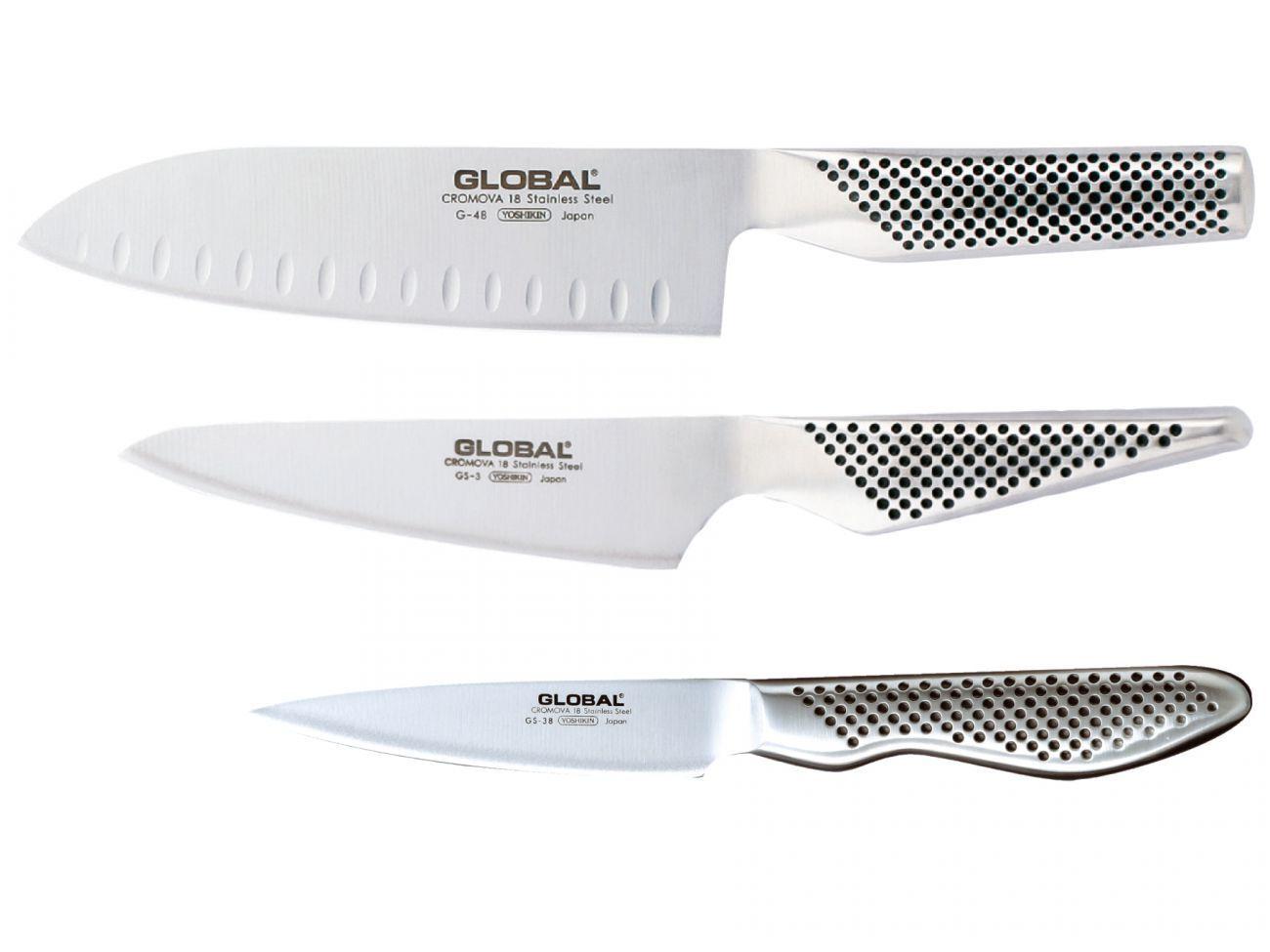 Global G-48338 Messerset Küchenmesserset Edelstahl rostfrei Japan