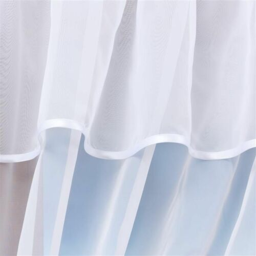WHITE ECRU  VOILE CURTAIN WITH WRINKLING TAPE AND PIPING SOLD BY THE METER!!!!