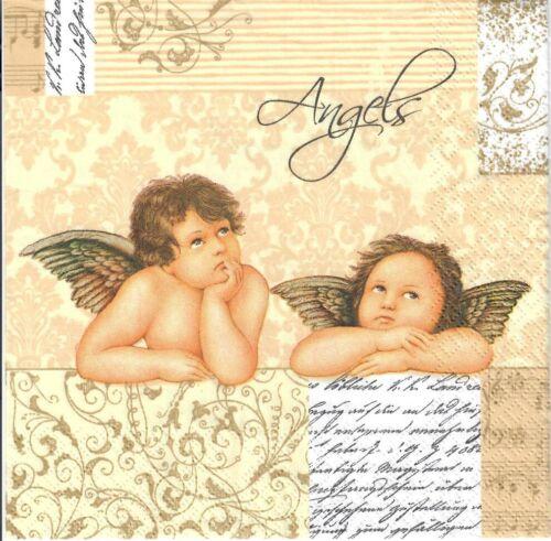 gold 4single paper decoupage napkins classic design-377 angels Angel